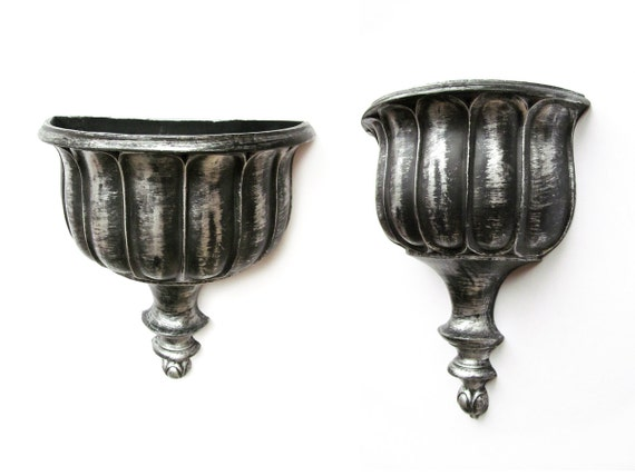 RESERVED Silver and black wall pocket urn shaped Dart Syroco wall sconce 70s resin wall pocket plant pot container indoor outdoor