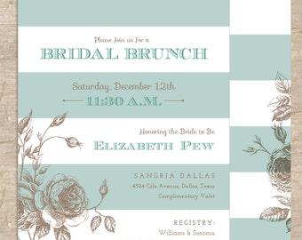 Vintage Bridal Shower Invitation - Antique Rose and Stripes