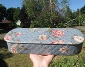 Light Blue with Rosy Roses Cloth Vanity/Glove Box with rounded edges by Dream House -Great Condition