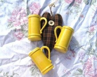 Vintage Yellow Mini Cups Porcelain