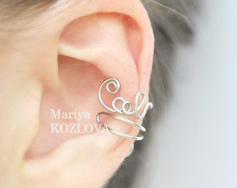 Left Ear Cartilage Cuff  Wire Writing COOL - dark silver color tarnish resistant wire