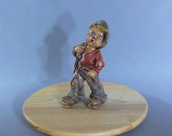 Figurine - Hobo Boy - Ceramic Clay - Hand Painted -  MG-104