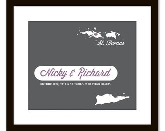 US Virgin Islands Beach Wedding Map Art Print