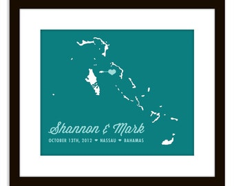 Bahamas Destination Wedding Map Art Print