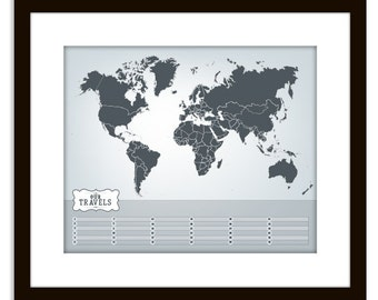 "Personalized Family or Personal World Travel Map (11 x 14"")"