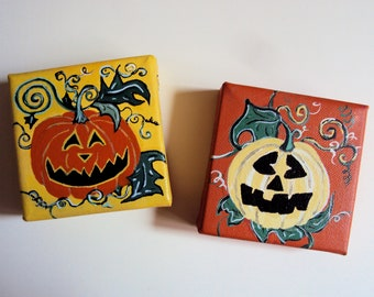 Halloween Folk Art Decor - Set of Adorably Terrifying Jack O Lantern Paintings - Spooky Cute Wall Art - Primitive Folk Art Decoration