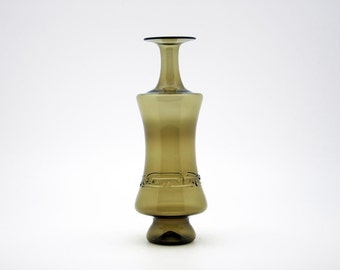 Unusual vintage hand-blown olive glass vase (1970's)