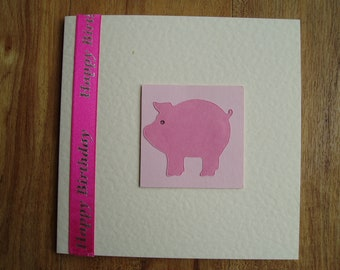 Pink Pig Birthday card