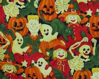 "Halloween ""Boo"" by Hoffman # 4727 Cotton Print Fabric - Color Pumpkin"