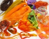 Wool and Silk Kit - Hand Painted Silk Hankies, Firestar, Mulberry Silk, Yarn pieces and Silk Rod for Felting projects