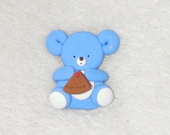 bear with a slice of cake  - card making embellishments. polymer clay