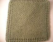 "Hand Knit Dish Cloth - Mix-N-Match - Avocado Green - Cotton - Large 9"" Square"