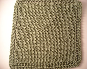 "Hand Knit Dish Cloth - Mix-N-Match - Avocado Green - Cotton - Large 9"" Square"