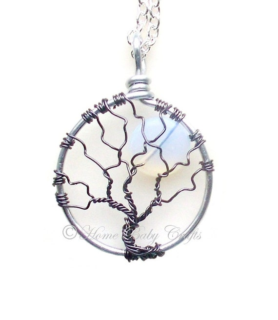 Birthworker's Tree of Life Necklace- Mini Tree with Opal Glass Moon, Midwife, Doula, Birth, Gift