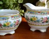 Vintage Coalport Fine Bone China crémier et sucrier, Ming Rose, or doré, en Angleterre