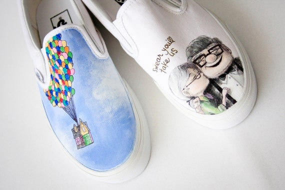 Custom Painted Shoes Up Wedding Theme- reserved for Amy