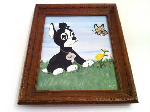 Framed Painting, 1981 Framed Original Acrylic Painting Ruff and the Butterfly E. Lewis, 80's Art, Wall Art, Nursery Art