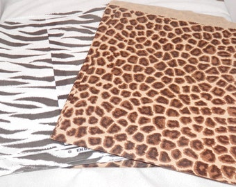 Zebra and Leopard  Animal  Print Merchandise Bags, Paper Bags, Gift Bags 8.5x11  100 pack