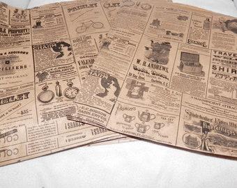 50 Vintage 8.5x11 Newsprint Bags, Vintage Newspaper Kraft Party Merchandise Bags,  Favor Bags