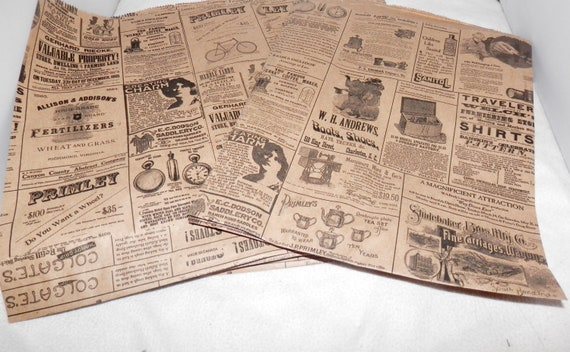 25 Vintage 8.5x11 Newsprint Bags, Vintage Newspaper Craft Party Merchandise Bags,  Favor Kraft Bags