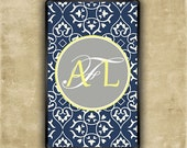 Kindle Fire Case - Navy blue damask with gray and yellow monogram - preppy Kindle Touch snap on case (9782)