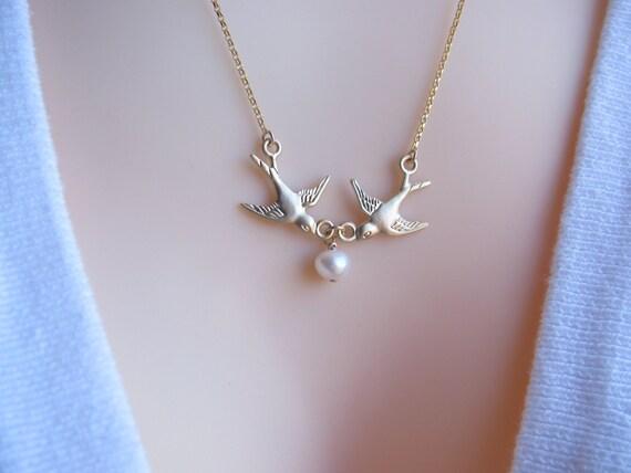 Flying Gold Bird Necklace, Gold birds necklace, Baby Shower Necklace- Mom Necklace-New Mom Necklace, Gold bird jewelry,