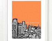 San Francisco Skyline Poster City Skyline Art Print - Downtown View - VERSION 2