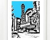 Portland Skyline Poster - Portland City Skyline Art Print  - Portland Concert Hall - VERSION 1