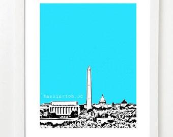 Washington DC Art Poster  - USA City Skyline Print - Washington DC Skyline Print