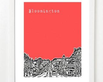 Bloomington Indiana Poster - Bloomington City State Skyline Art Print - Bloomington, IN - VERSION 1