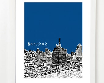 Bangkok City Art Print - Bangkok Skyline Poster - Bangkok Thailand
