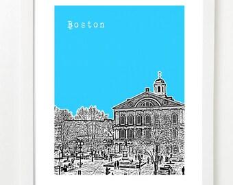 Boston Art - Faneuil Hall - Boston City Skyline Poster - Faneuil Hall Massachusetts -