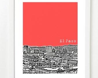 El Paso, Texas Poster - El Paso Skyline Series Art Print - El Paso Texas State Art - VERSION 1
