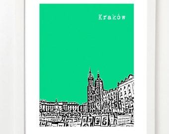 Krakow Poland Poster  - Krakow City Skyline Art Print