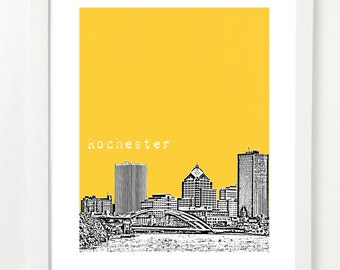Rochester Skyline Art Print - Rochester Poster - Rochester Moving Gifts