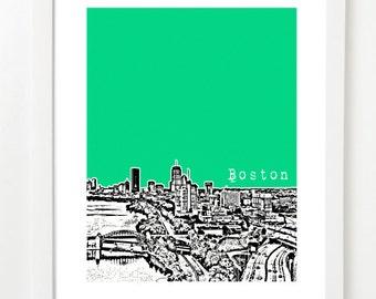 Boston Art Print - Boston Skyline - Boston Massachusetts - Boston University Bridge - VERSION 2
