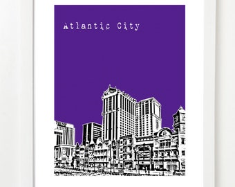 Atlantic City Art Print -  Atlantic City New Jersey State Skyline Poster - Atlantic City Wedding