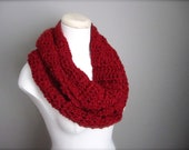 Crochet Christmas Red, Rich Scarlet Red Infinity Scarf, Women's Scarf, Men's Scarf, Unisex Scarf
