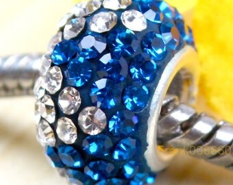 Royal Blue, Clear Swarovski Crystal and Sterling Silver Large Hole Beads for European Style Charm Bracelets, Large Hole Spacer Beads