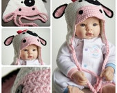 Cow Cotton Crochet Baby Hat Photography Prop
