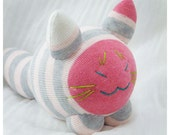 Plush Cat, Stuffed Animal, Pink Cat, Striped Sock Doll Toy