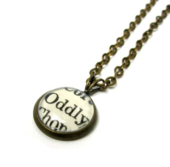 Oddly Odd Word Mini Pendant Brass Setting Library Card Necklace One of a Kind