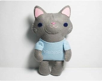 Little Gray Cat - Felt doll PDF pattern, e-pattern, DIY