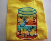 Personalized Jar of Bugs appliqued tshirt or onesie.