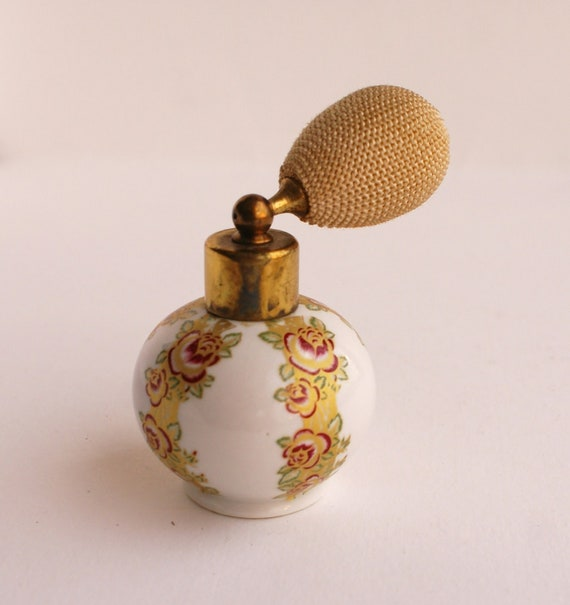 Small Vintage China Porcelain Perfume Bottle Vith Atomiser Spryer
