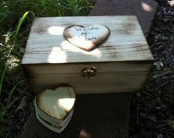 Custom Order Wood Guest Book Box Rustic Wedding Decor Medium Size - Word of Wisdom for the Bride & Groom - Personalized