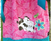 """Girls Handmade Pillowcase Dress Size 4 Pink Butterfly and Aqua Lace Trim - Upside Down Cow Design """"for you to see while wearing me""""."""