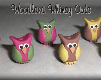 6pc. Woodland Whimsy Hoot Owl beads polymer clay BHV