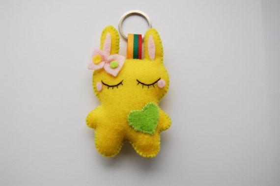 soft yellow bunny cute kawaii key chain key ring charm Christmas little gift