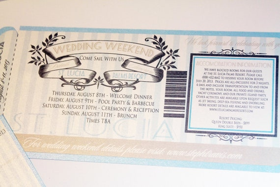 Elegant Sea Side Destination Wedding Beach Cruise Boarding Pass Ticket Invitation or save the date - DEPOSIT LISTING